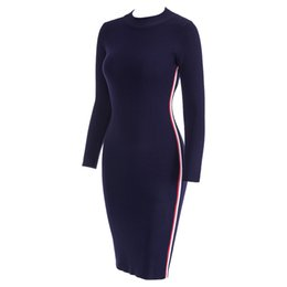 3324053c2f wholesale 2019 Autumn Winter Women Striped Knitted Dresses Long Sleeve  Bodycon Sexy Tight Midi Wrap Sweater Dress 1810062