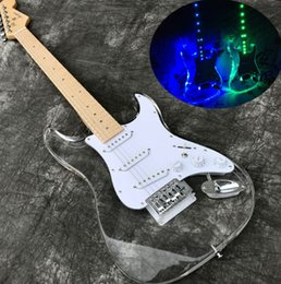 Light guitar strings online shopping - Acrylic Electric guitar Maple fretboard neck Fingerboard Transparent Body with LED Light New LED Guitarra