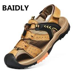 Open Toe Genuine Leather Sandals Australia - Genuine Leather Sandals Men Gladiator Sandals Summer Shoes Buckle Open Toe Men Casual