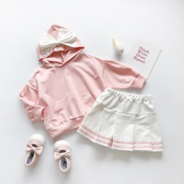 Skirt wind SuitS online shopping - Kids Clothes Sets Baby Girls Autumn Cute Big Bow Hooded Sweatshirt Skirt Suit College Wind Girls Clothes Set Childrens Clothing