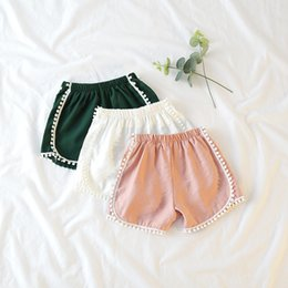 White Shorts Australia - Girls hot shorts kids summer white green pink lace short baby all match cotton beach clothes children clothing 1-7 years old