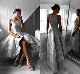 Wholesale Silver Gray Jewel Neck Arabic Formal Prom Dresses Sleeveless Short Hi Lo Length Plus Size A Line Pageant Dress Party Evening Gowns