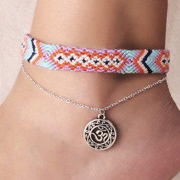 $enCountryForm.capitalKeyWord NZ - Vintage OM Rune Weave Anklets Women Handmade Cotton Anklet Bracelets Female Beach Foot Jewelry Gifts 2 PCS Set