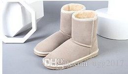 Blue Snow Boots Australia - FRE SHIPING classic Australia winter Fur boots for women chestnut black grey blue pink designer snow boots womens ankle knee boot size 5-13