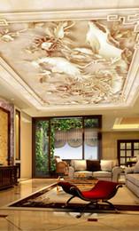 Sky ceiling wallpaper online shopping - Custom Painting Embossed flower Ceiling Wall Mural Modern Designs D Living Room Bedroom Ceiling Wallpaper Papel De Parede