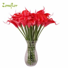 silver artificial wedding flowers UK - lower calla lily Zonaflor 31PCS Decorative Flowers Calla Lily 2019 PU Real Touch Artificial Flower Home Decoration Table Flowers Wedding ...