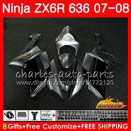 $enCountryForm.capitalKeyWord Australia - Kit For KAWASAKI NINJA ZX600 ZX636 ZX 6 R 6R 07 08 34NO.52 ZX 636 600 CC 600CC silvery black ZX-6R ZX-636 ZX6R 07 08 2007 2008 ABS Fairing