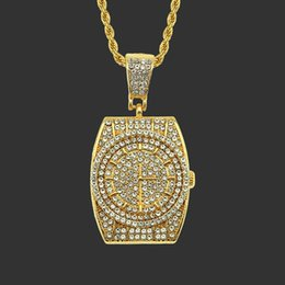 cut coin jewelry UK - New Fashion Jewelry Tide Brand Three-dimensional Diamond Wrist Watch Pendeloque Cut Necklace Man Hip Hop Jewelry Men Party Necklace Gift