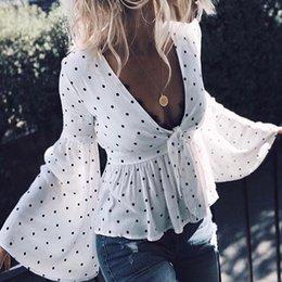 $enCountryForm.capitalKeyWord NZ - Xia Qiuji Suit-dress Sexy Deep V Wave Point Long Sleeve Horn Sleeve Temperament Shirt