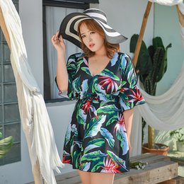 plus size swimwear sleeves UK - 3XL-9XL Ladies Swimwear Women Plus Size Bathing Suit One Piece Swimsuit 2020 Criss Cross Short Sleeve Print Swimwear Swim Dress Y200613