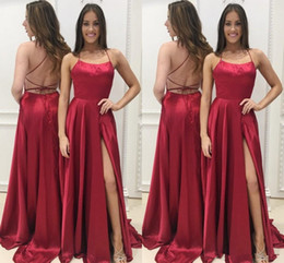 discount long red dresses Australia - Simple Sexy Side Split Backless Red Long Prom Dresses 2019 Discount Women Summer Dress Evening Wear Cheap Party Gowns vestidos de fiesta