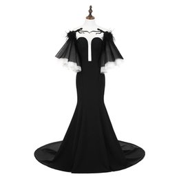 Pagoda sleeves dress online shopping - Real Images Black Evening Dresses Feather Sheer Neck Pagoda Sleeves Mermaid Prom Dress Long Sexy Hollow Back Party Vestidos De Novia