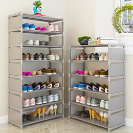 Discount space saving shoe holder Multi Layer Rack Nonwovens Steel Pipe Easy To Install Home Shoe Cabinet Shelf Storage Organizer Stand Holder Space Savin