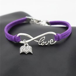Purple Book NZ - New Men Women Vintage Purple Leather Wax Cord Charm Bracelets & Bangles Metal Infinity Love Open Book Adjustable Accessories Jewelry Gifts
