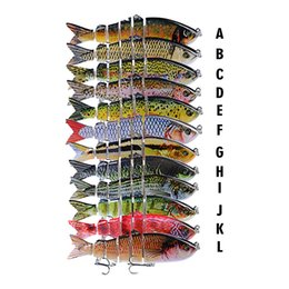 multi jointed fishing lures Australia - Realistic multi-jointed 3D Fish Six segmented body Fishing Lure 12cm 18.5g S-shaped swimming Lipless Laser Musky Bait Hooks