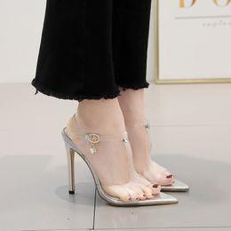 $enCountryForm.capitalKeyWord Australia - Magical2019 Piece Adhesive Transparent Sharp High With Sandals Hasp Rhinestone Women's Shoes 40