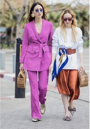 women business trouser suits NZ - Purple Double Breasted Women Suits Formal Trouser PantSuit Women Set Ladies Pant Suits Jacket+Pants Women Business Suits Blazer