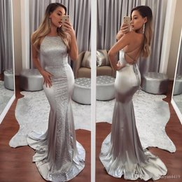 Silver Falls Australia - Silver Mermaid Prom Dresses Halter Neck Sleeveless Beaded Criss Cross Backless Arabic Lace Sweep Train Elastic Satin Party Evening Gown