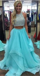 Make Icing Flowers Australia - Ice Blue 2 Piece Prom Dresses 2019 Crew Sleevless Beaded Cutout Back A Line Organza Floor Length Black Girl Party Evening Gown Homecoming