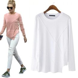 Novelty Tees Australia - women novelty asymmetry loose T shirts basic style o neck long sleeve tees ladies cozy solid color casual tops plus size LT864