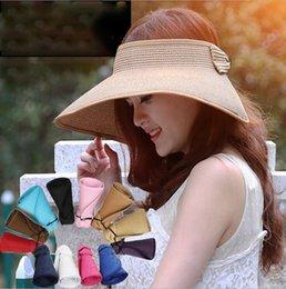 Large brim summer hats online shopping - Summer straw hat Visors Cap Foldable Wide Large Brim Sun Hat Beach Hats for Women Straw Hat Foldable cap LJJK1199