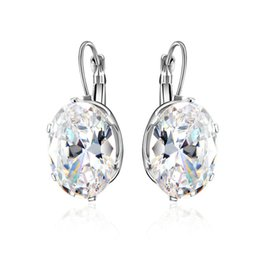 $enCountryForm.capitalKeyWord Australia - Hot Sale White Gold Color Cubic Zirconia Setting diamond Earring Fashion Woman Earring 5 Colors Best Gifts Drop Shipping