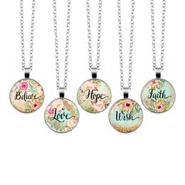 faith hope love wholesale jewelry UK - Love hope faith believe  Vintage Necklace Letter Glass Cabochon Pendant Long Chain Necklace Girl Women Jewelry Gift For Kids