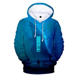 Wholesale Fantasy Film godzilla king of the monsters D Hoodies Blue Bright Fashion Young People Streetwear Tracksuit Handsome Sweatshirts