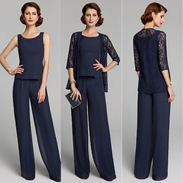 Chiffon suits online shopping - 2019 Summer Two Piece Mother of the Bride Dresses Plus Size Jewel Neck Floor Length Chiffon Lace Pants Suits Party Gowns