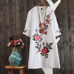 plus size hippie boho clothing UK - Ethnic Embroidery Boho Floral Dress Women Loose Short Sleeve Hippie Summer Dresses Ladies V Neck Plus Size Clothes Vestidos