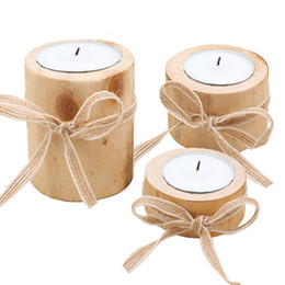 $enCountryForm.capitalKeyWord Australia - 6 Pcs Wooden Tree Stump Tea Light Candle Holders, Ribbon Wooden Candlestick Candle Holders for Rustic Wedding Party Birthday Decoration