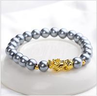 $enCountryForm.capitalKeyWord Australia - LF01 bracelet 3D sand gold pixiu bracelet bead bracelet single ring pearl road pass bracelets men and women hand jewelry