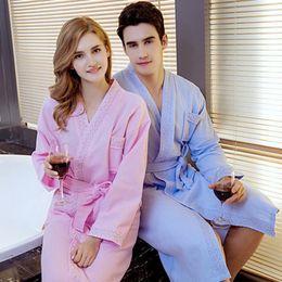 5c963b4ef9 Kimono Bathrobe Women Female Cotton Waffle Robe Solid Color Women Nightgown  Long Soft Robe High Quality Night Dress Sleepwear