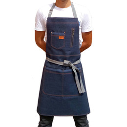shop aprons Canada - New Fashion Denim Apron for Chef Kitchen BBQ with Pockets Grill Baking Cooking Aprons For Men Coffee Shop and Studio Overalls Y200103