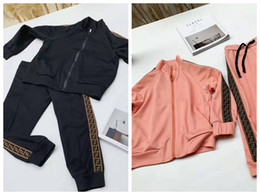 Spring autum online shopping - Kid clothes designer girls fashion pink outfit F letter print brand two pieces sport set autum winter high qaulity clothes for baby boy