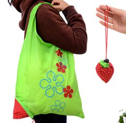 foldable bags totes wholesale Australia - Wholesale Cartoon Reusable String Shopping Bags Woman Foldable Strawberry Shopping Tote High Quality Waterproof Storage Bag SH002