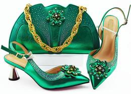 Flower Dress Set NZ - High quality green women pumps match handbag set with crystal flower style african shoes and bag for dress MM1085,heel 7CM