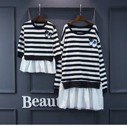 Match Clothing Mom Baby NZ - Family Clothing Mother Daughter Baby Dresses Mum Mom And Daughter Matching Clothes Korean Style Stripe Eyes Kids Funny Suit Set Y190523
