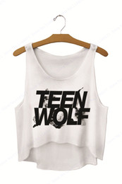$enCountryForm.capitalKeyWord NZ - Black Teen Wolf Letter Print Tank Tops Crop Vest Ladies Loose Fit Surfing T Shirt Sleeveless Camisole Singlets Curve Bottom