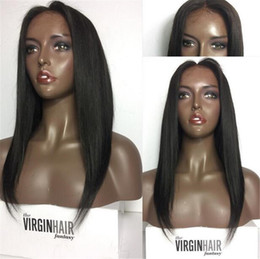 Brown Straight Wig Part Australia - Glueless Full Lace Wigs #1 Color Silky Straight Human Hair Brazilian Non-Remy Hair With Baby Hair Middle Part