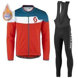 Scott Bike Bibs UK - 2019 SCOTT cycling jersey suit winter men thermal fleece long sleeve bike shirt bib Pants set MTB bicycle clothing racing sportswear