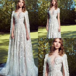 $enCountryForm.capitalKeyWord Australia - 2019 Zuhair Murad Wedding Dresses Bateau Neck 3D Floral Appliqued Vestidos De Novia Detachable Wrap Country Wedding Dress Bridal Gowns