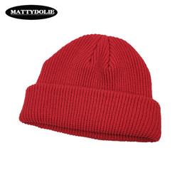 501665f9c94 MATTYDOLIE Knit Cap Solid Color Autumn Winter Hat Men Short Head Cap  Outdoor Warm Melon Street Head Woman