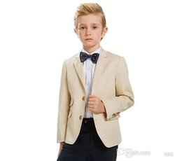 New model paNt boys online shopping - New Design Beige Boys Formal Occasion Tuxedos Notch Lapel Kids Wedding Tuxedos Child Party Holiday Blazer Suit Jacket Pants Tie