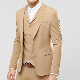 Three Piece Suit Styles Australia - Champagne Evening Party Men Suits 2019 Latest Trim Style Blazer Two Button Wedding Groom Tuxedos Three Piece Jacket Pants Vest