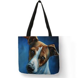 $enCountryForm.capitalKeyWord Australia - Personalized Oil Painting Greyhound Dog Prints Tote Bag Durable Shopping Travel Sport Bags Women Men Casual Handbag Dropshipping