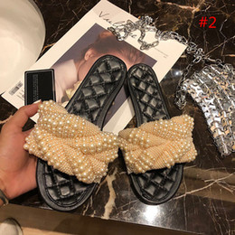 Discount handwork shoes - Fashion and Quality Women Summer Pearl Bead Slipper Ladies Peep Toe Handwork Flat Sandals Women Fashion Casual Shoes Siz