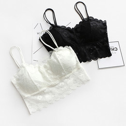 $enCountryForm.capitalKeyWord NZ - 2019 Lace Women Slip Tank Tops Female Sexy Strap Tops Summer Ladies Chiffon Sleeveless See Black White Sexy Women Bra
