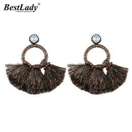 $enCountryForm.capitalKeyWord Australia - Lady Brand Big Sector Tassel Statement Earrings For Women Boho Vintage Dangle Drop Earrings Jewelry Charm Multicolor Bijoux