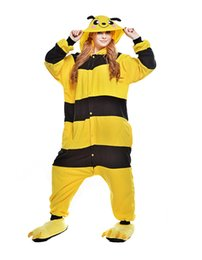 $enCountryForm.capitalKeyWord UK - Adult Cartoon Honeybee Onesie Anime Costume Polar Fleece Cosplay Costume Pyjamas Halloween Carnival Jumpsuit Loose Masquerade Outfit